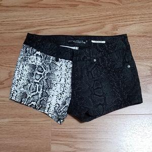 Lovesick Black & White Snakeskin Print Shorts